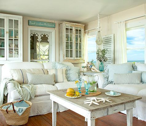 Shabby chic white \ pastel living room in a beach cottage Take - beach house living room