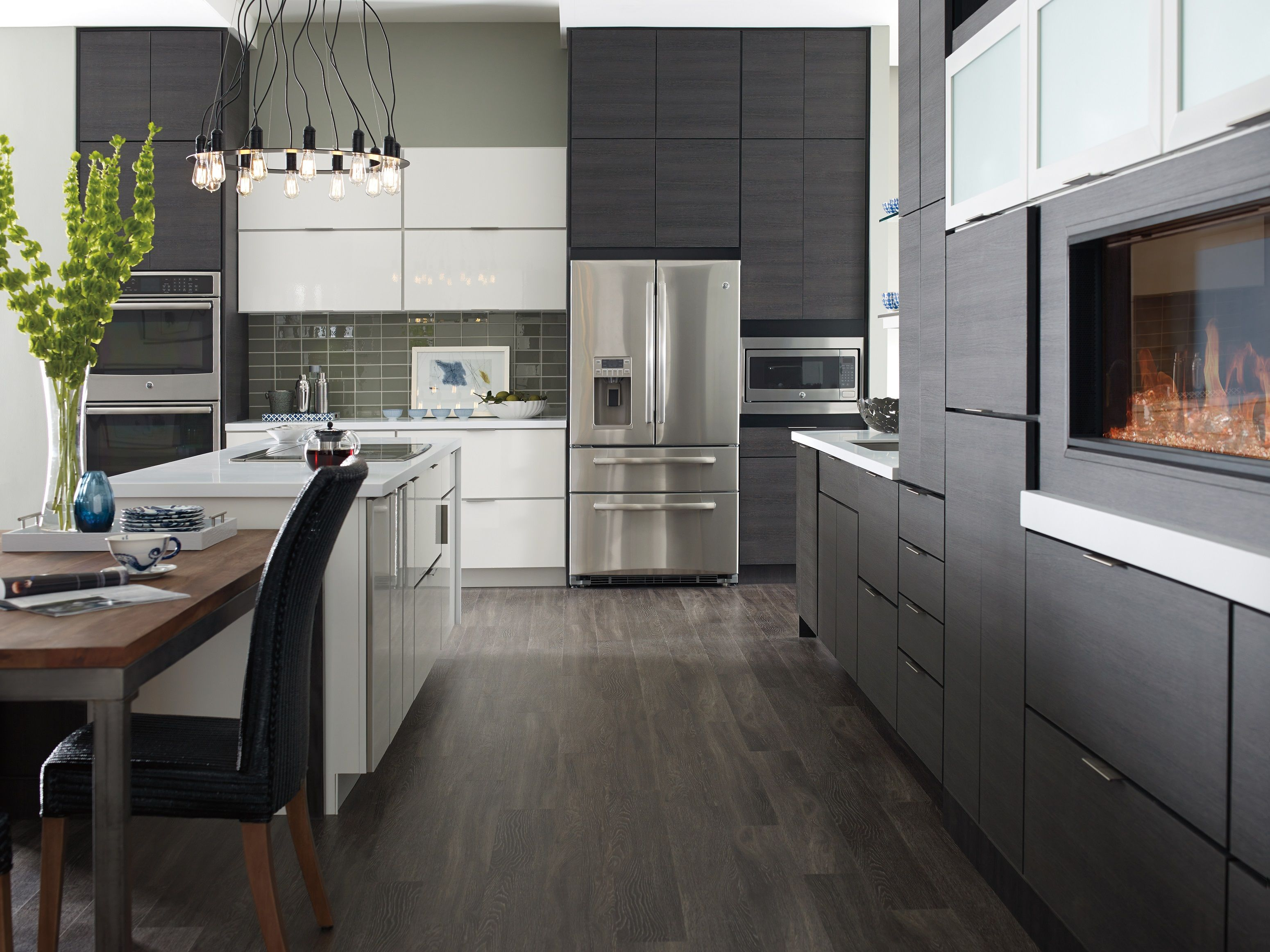 Contemporary white and grey thermofoil slab doors kitchens pinterest slab doors doors and kitchens