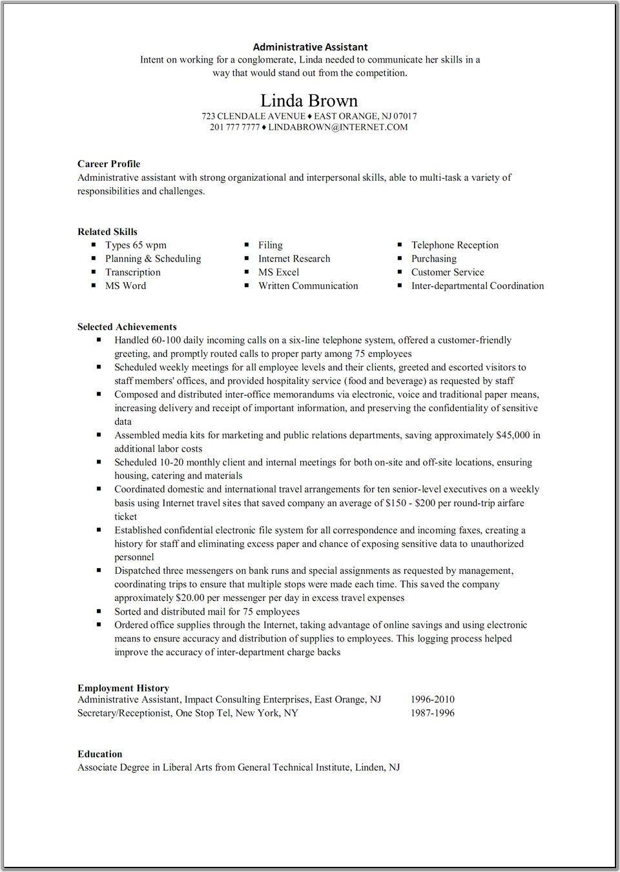 admin executive resume examples