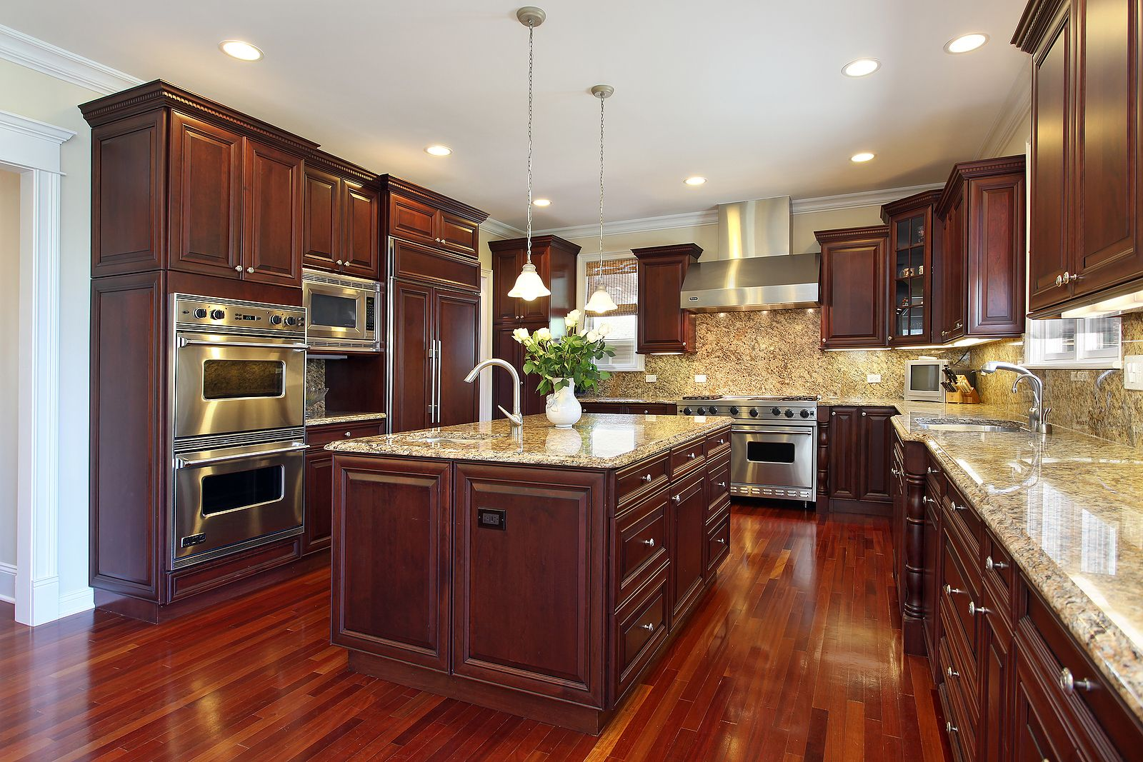 Cherry wood cabinets a must granite counter tops and an island loving the