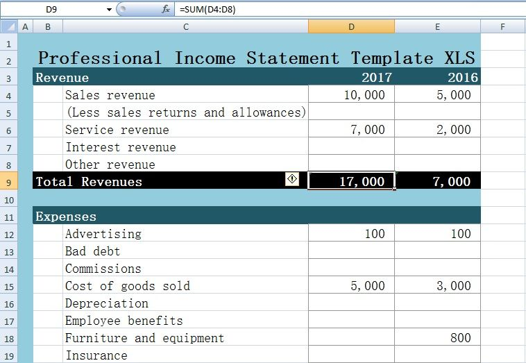 Professional Income Statement Template Excel XLS u2013 Excel XLS - income statement template