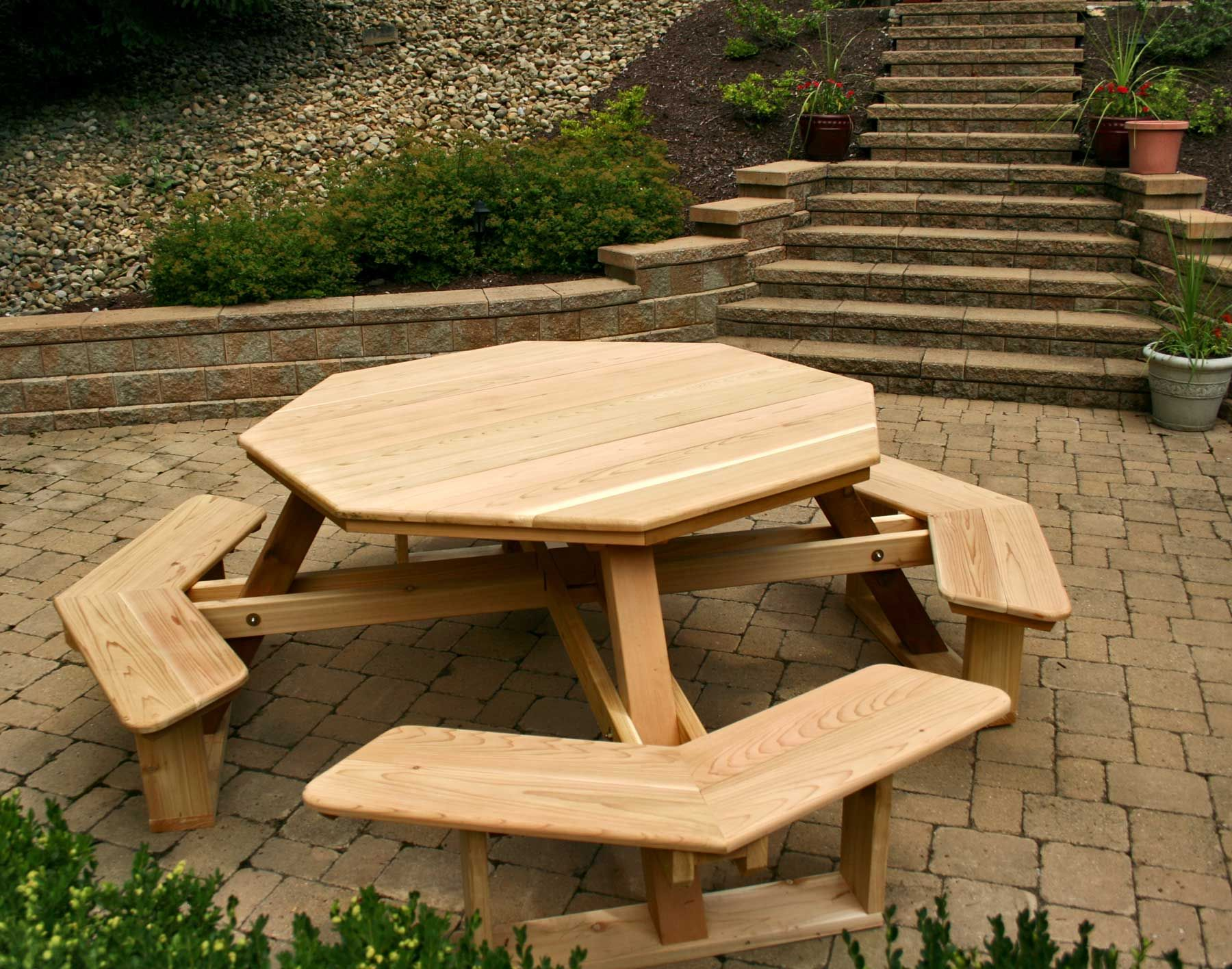 Diy Patio Table And Chairs Furniture Hexagon Table Picnic Table Plans With Separate