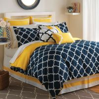 Navy white yellow bedspreads | Hampton Links Bedding ...