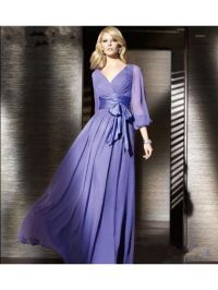 Cheap Purple Long Sleeves Chiffon Prom Evening Formal ...