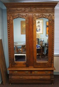 Victorian Antique Carved Oak Knockdown Armoire Mirrored ...