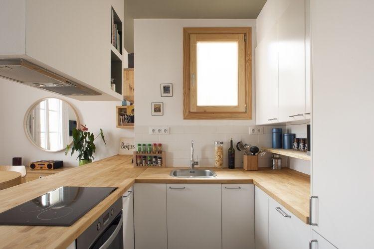 ... Design Idee Bilder. Kleine Küche In U Form Mit Halbinsel Zum Wohnzimmer  Küche   Mini Kuche Lo Lo