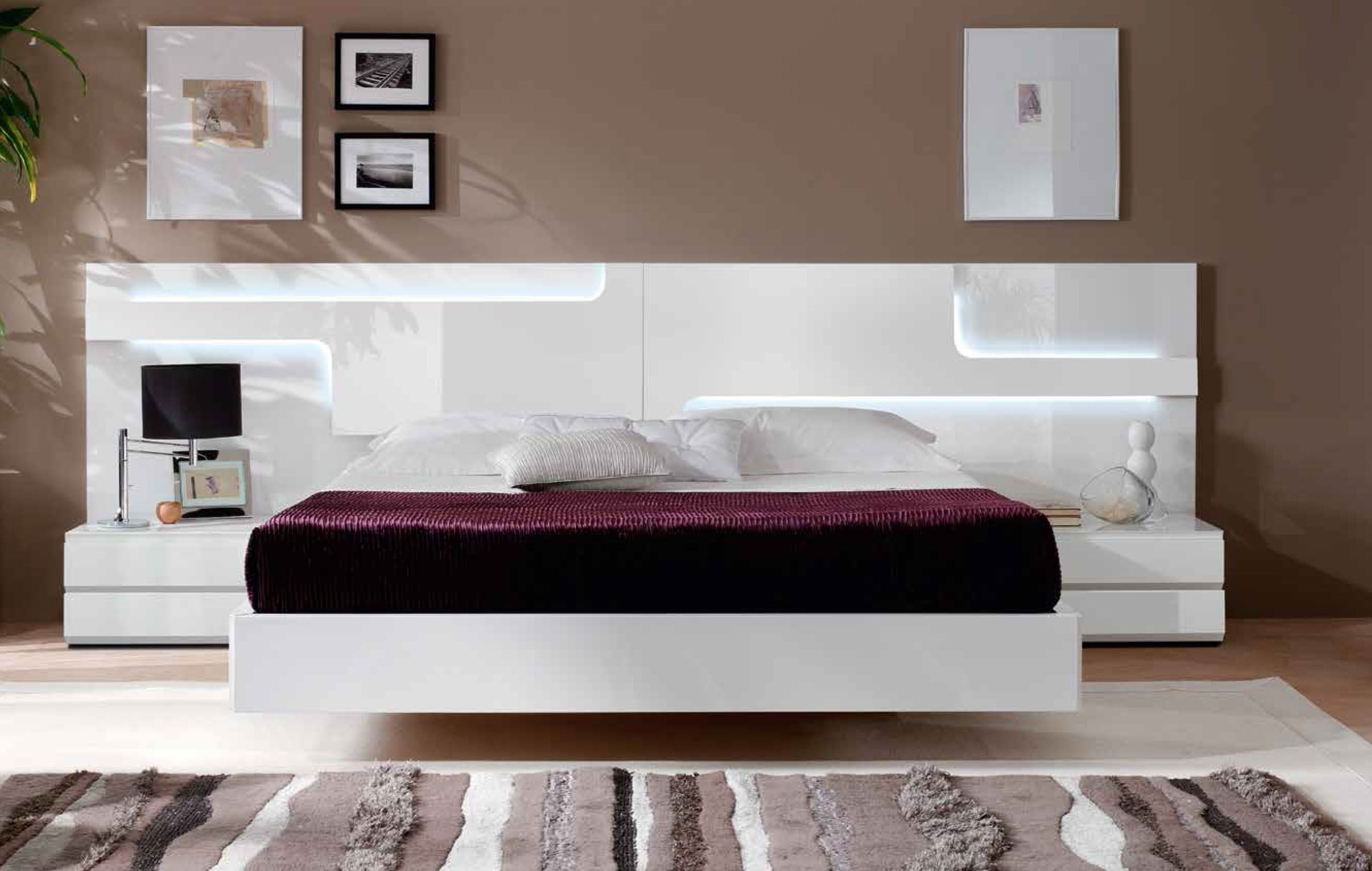 Storage furniture luxury made in spain wood platform and headboard bed with asian style bedroomsmodern white