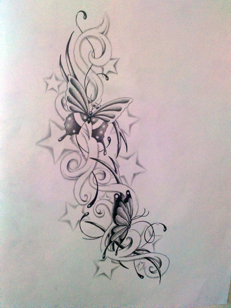 Butterfly with stars tattoo designs butterfly and star s by ashtonbkeje