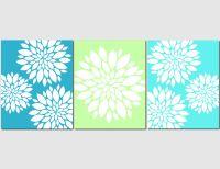 Aqua Teal Lime Green Wall Art Home Decor Flower Burst ...