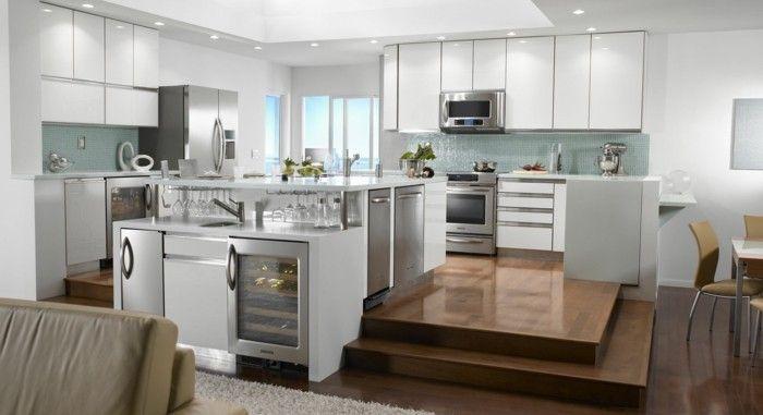 moderne kuechen moderne decke beleuchtung offener wohnplan Küche - moderne kuche praktische kuchengerate