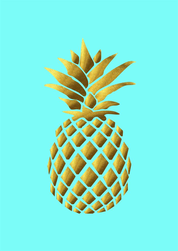 Cute Pineapple Iphone Wallpaper Gold Foil Art Prints Poster Print Pineapple Silhouette