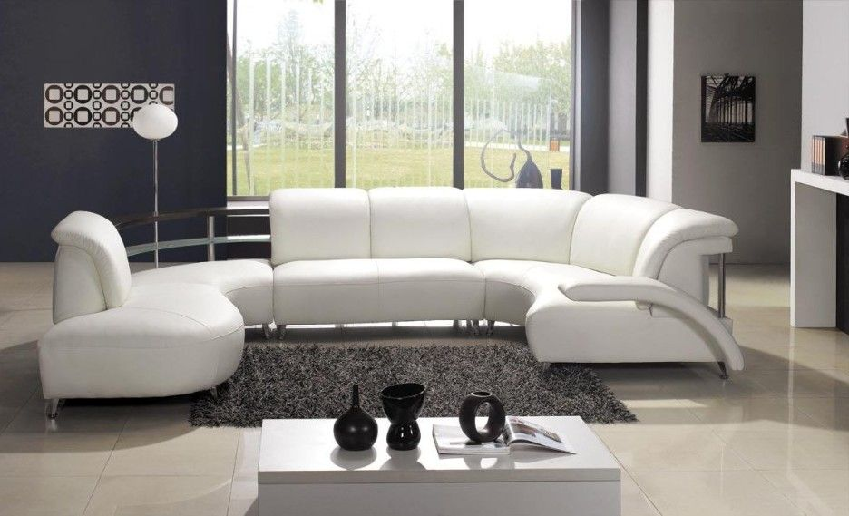 Living Room Contemporary White Leather Sofa on Grey Shaggy Rug - gray leather living room sets
