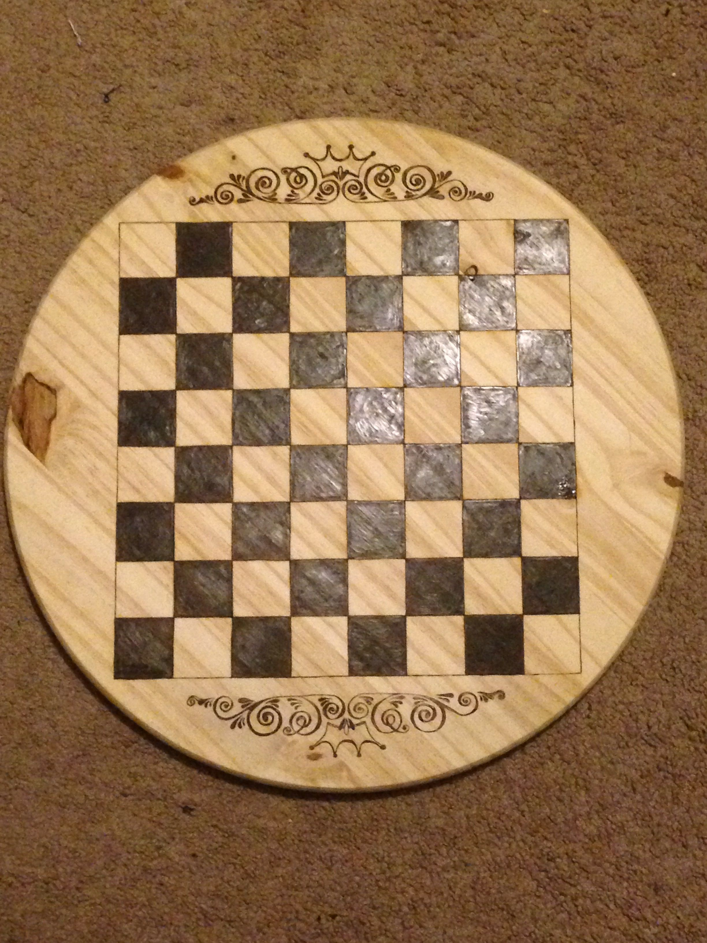 Diy Wood Chess Board Pyrography Chess Board By Jessi Watson Made By Me