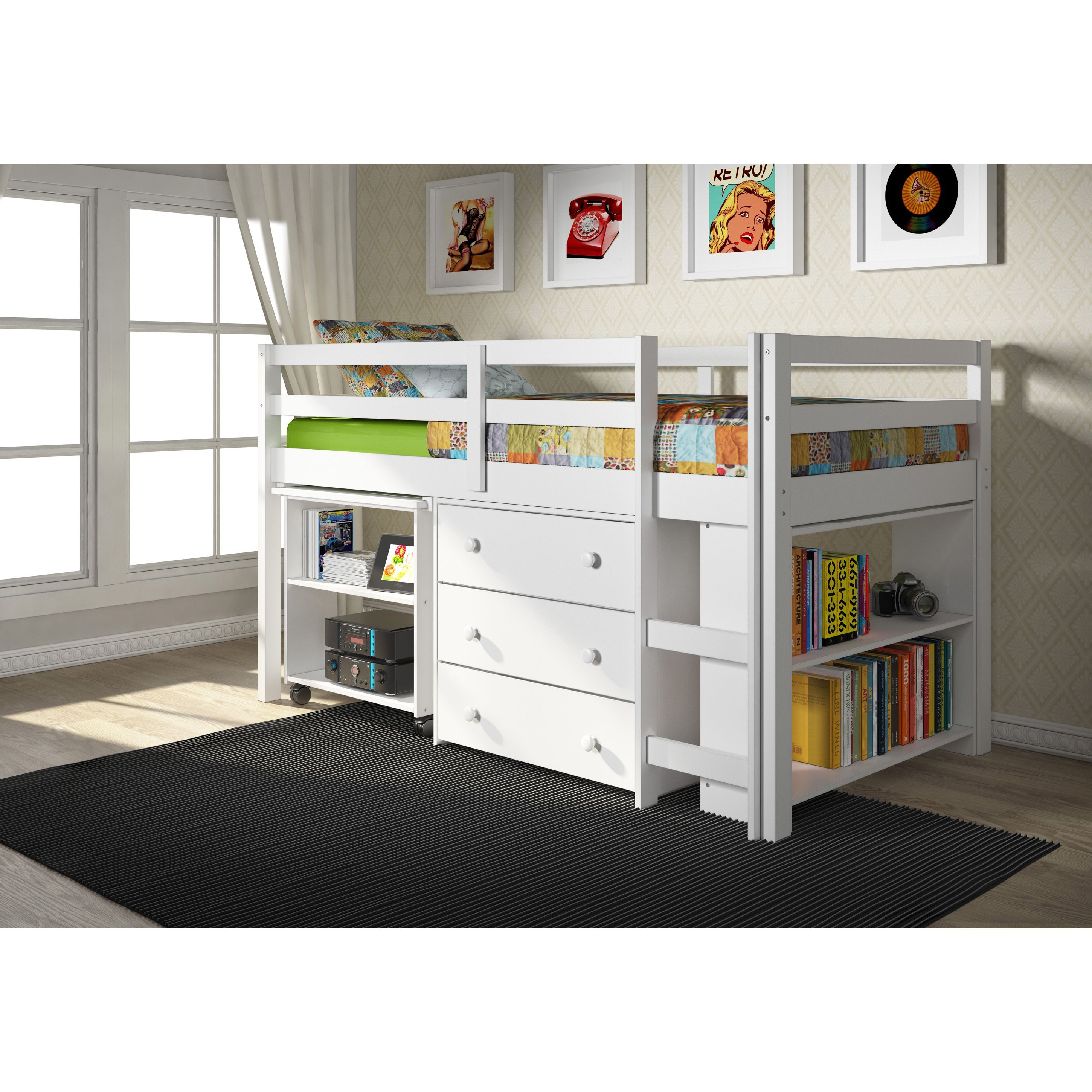 Doppel Hochbett Ikea Donco Kids Low Study Loft Desk Twin Bed With Chest And