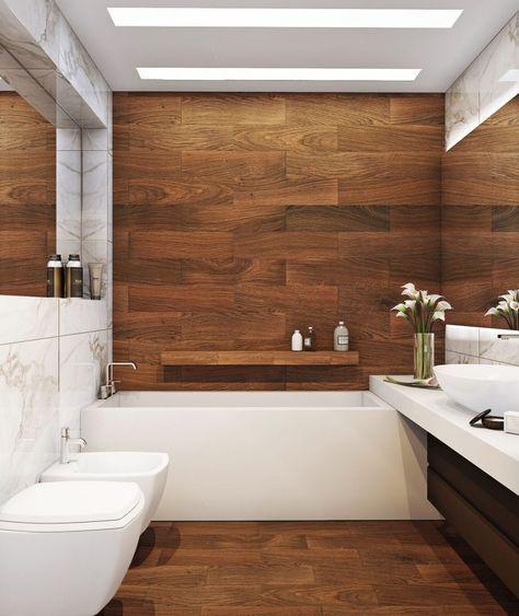 kleines-badezimmer-fliesen-ideen-kleine-holz-optik-grosse-marmor - kleines badezimmer fliesen ideen