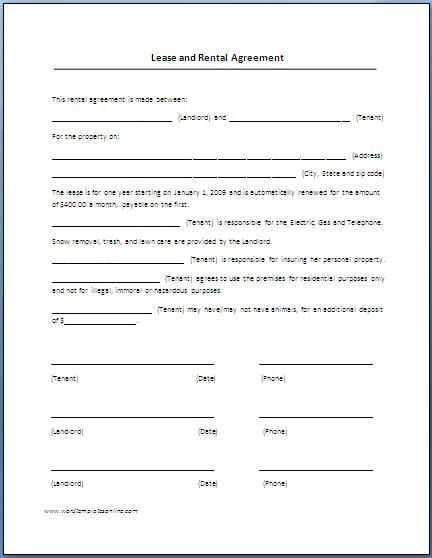 Printable Sample Renters Lease Agreement Form Real Estate Forms   Auto  Contract Template