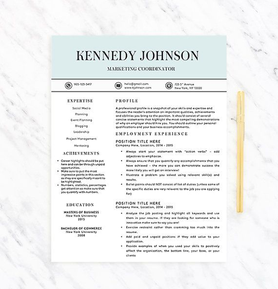 Classy, Professional Resume Template for Word Resume + Extras - instant resume templates