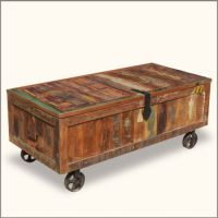 Wood Storage Box Coffee Table Reclaimed Chest Trunk ...