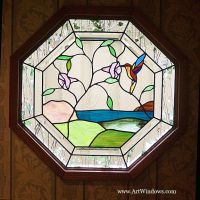 Hummingbird Octagon Window, Art Windows Custom Stained ...