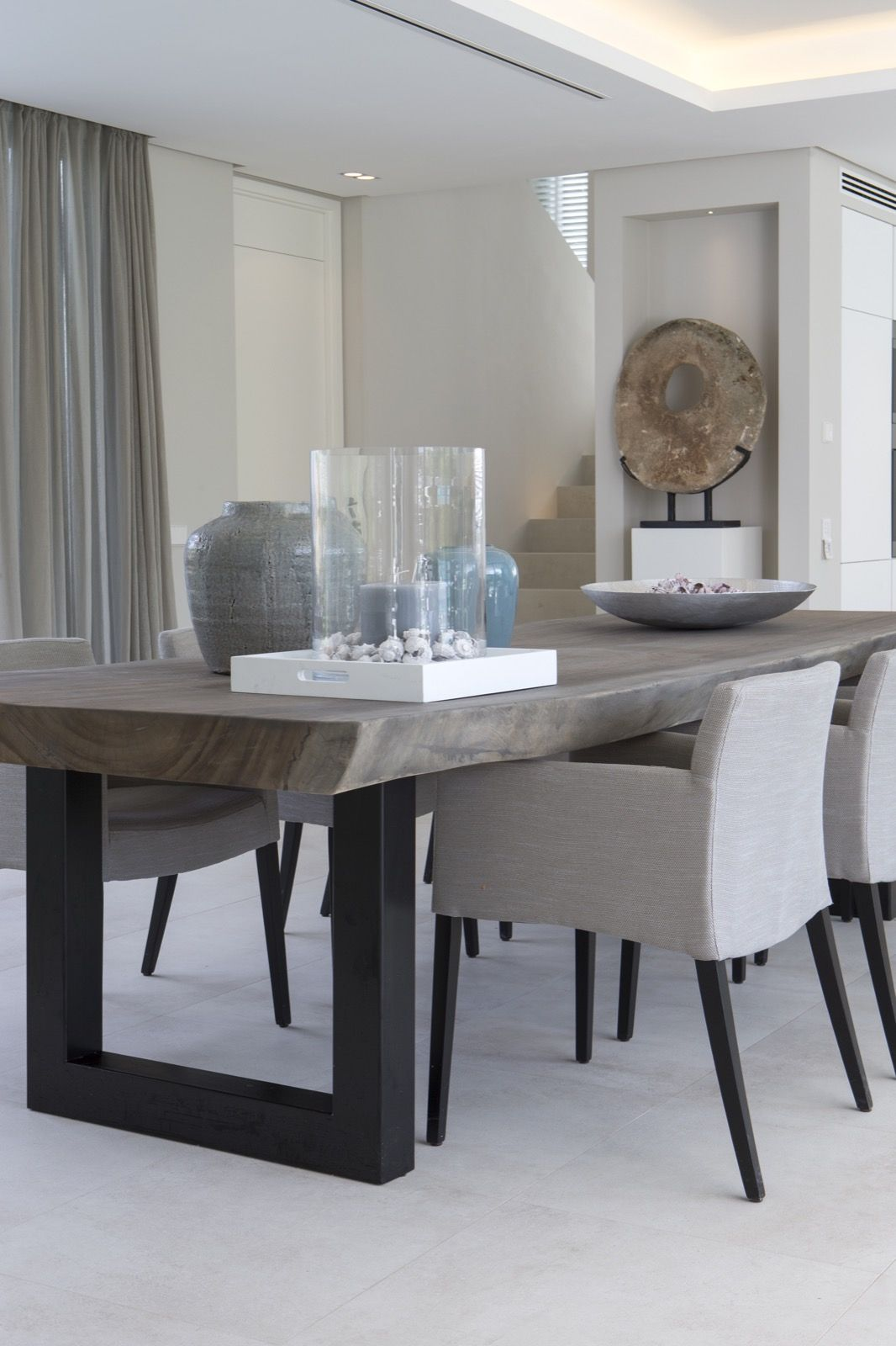 gray kitchen table 10 Superb Square Dining Table Ideas for a Contemporary Dining Room Industrial Pine and Modern