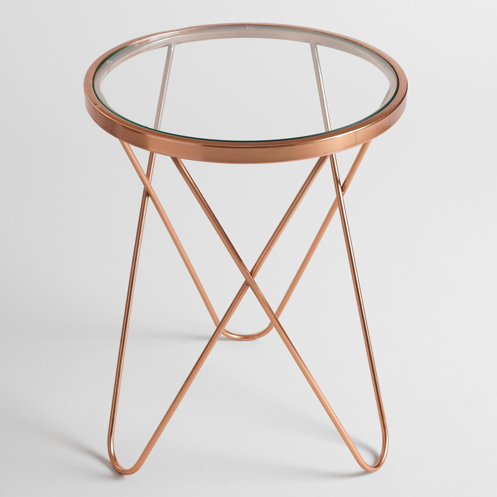 Glass Coffee Table With Gold Legs With A Round Glass Top And A Rose Gold Metal Frame Our