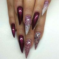 Mahogany glitter stiletto nails   C L A W S & P A W S ...