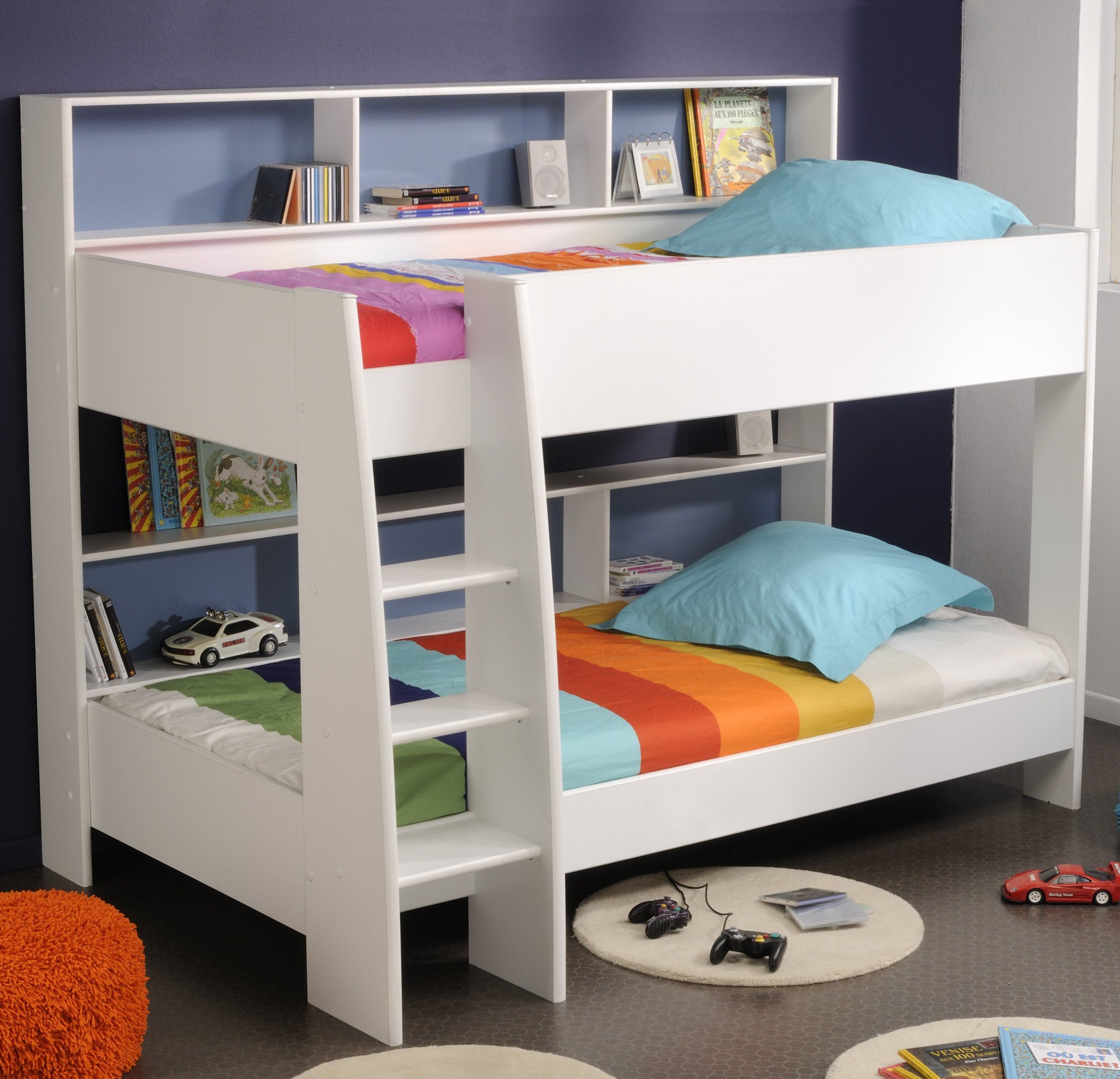 Twin kids bunk bed with stairs