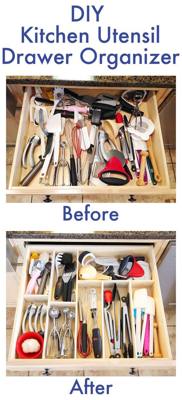 diy kitchen ideas DIY Kitchen Utensil Drawer Organizer Easy