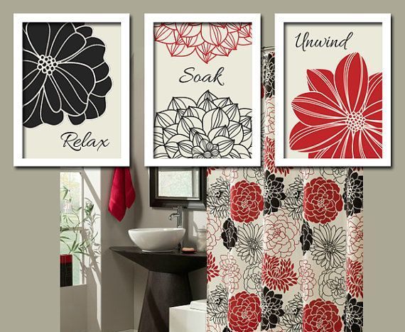 red and zebra Bathroom Wall Decor Black Red Flourish Bathroom - red bathroom ideas