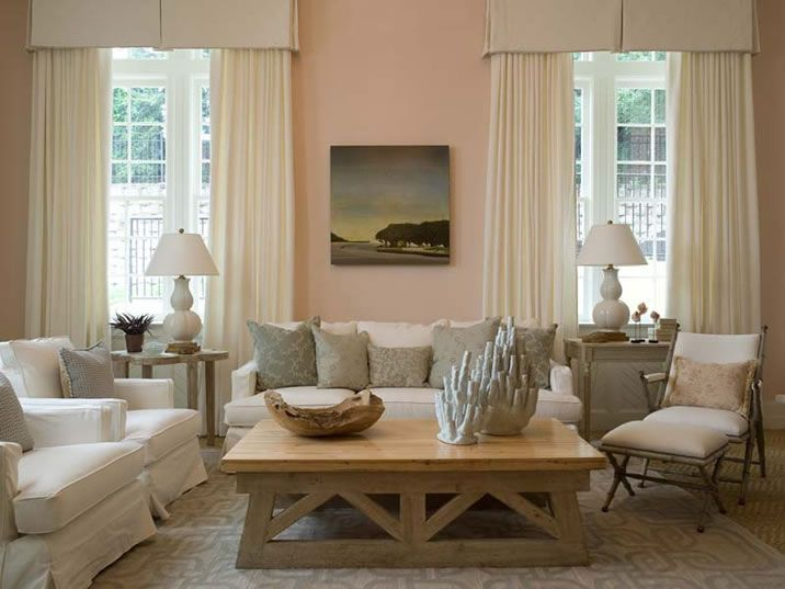 Color Scheme Coral and Grey Pink walls, Living rooms and Light - peach living room