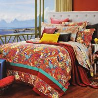 Luxury Orange Paisley Bedding | Orange-Red Gold and Blue ...
