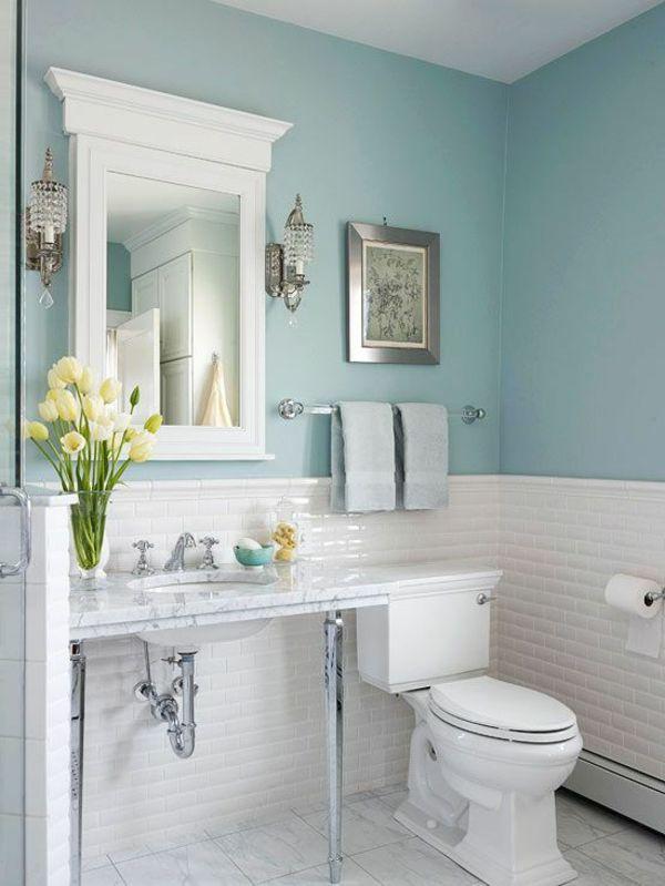 badezimmer gestaltung mit wänden in blauer farbe und weißem - gestaltung badezimmer nice ideas
