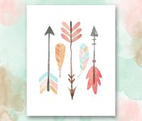 Arrows and Feathers Printable, Boho Chic Nursery Wall Art ...