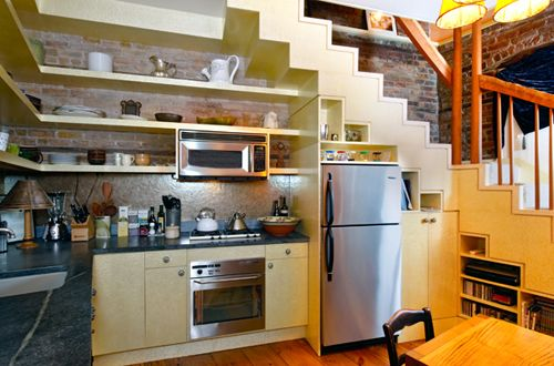 i want a kitchen with stairs in it, just so it can look like this - under stairs kitchen storage