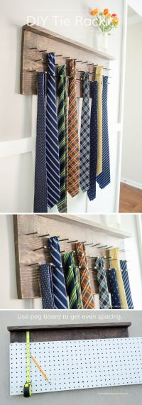 DIY Tie Rack Tutorial | More Horse shoe nails, Father's ...