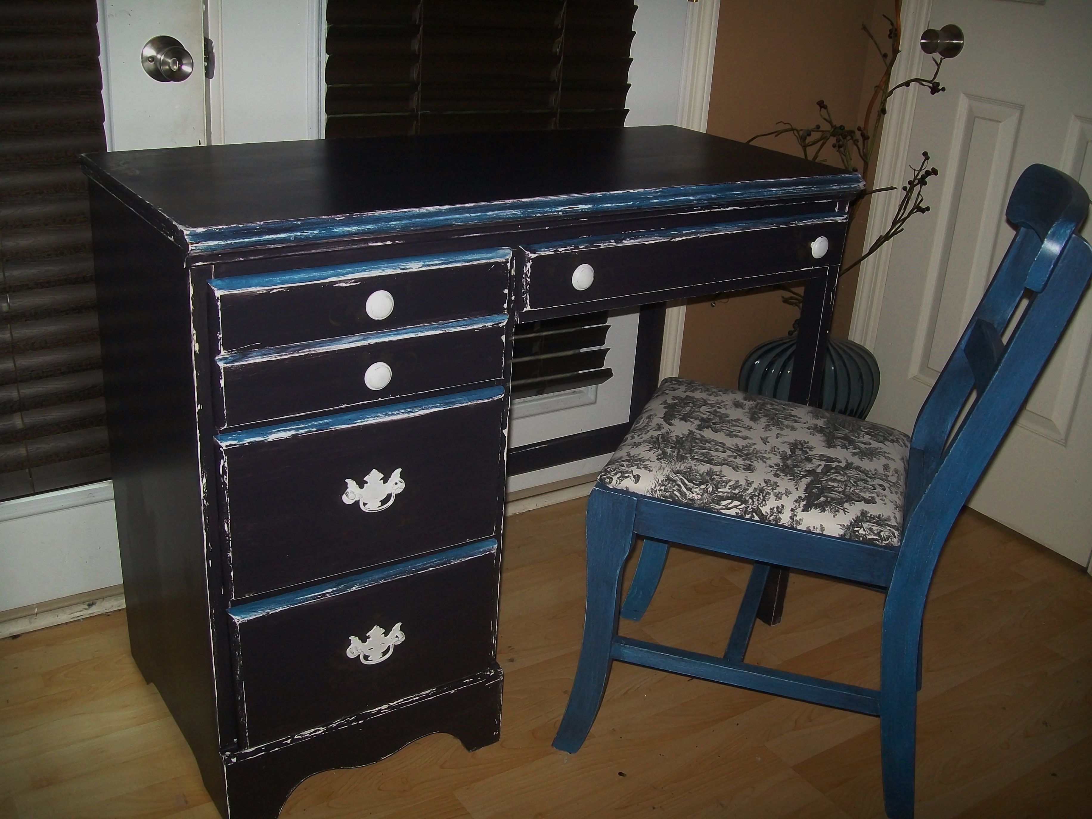 White And Gold Desk Chair Antique Desk Black Blue And White With Gold Detailing