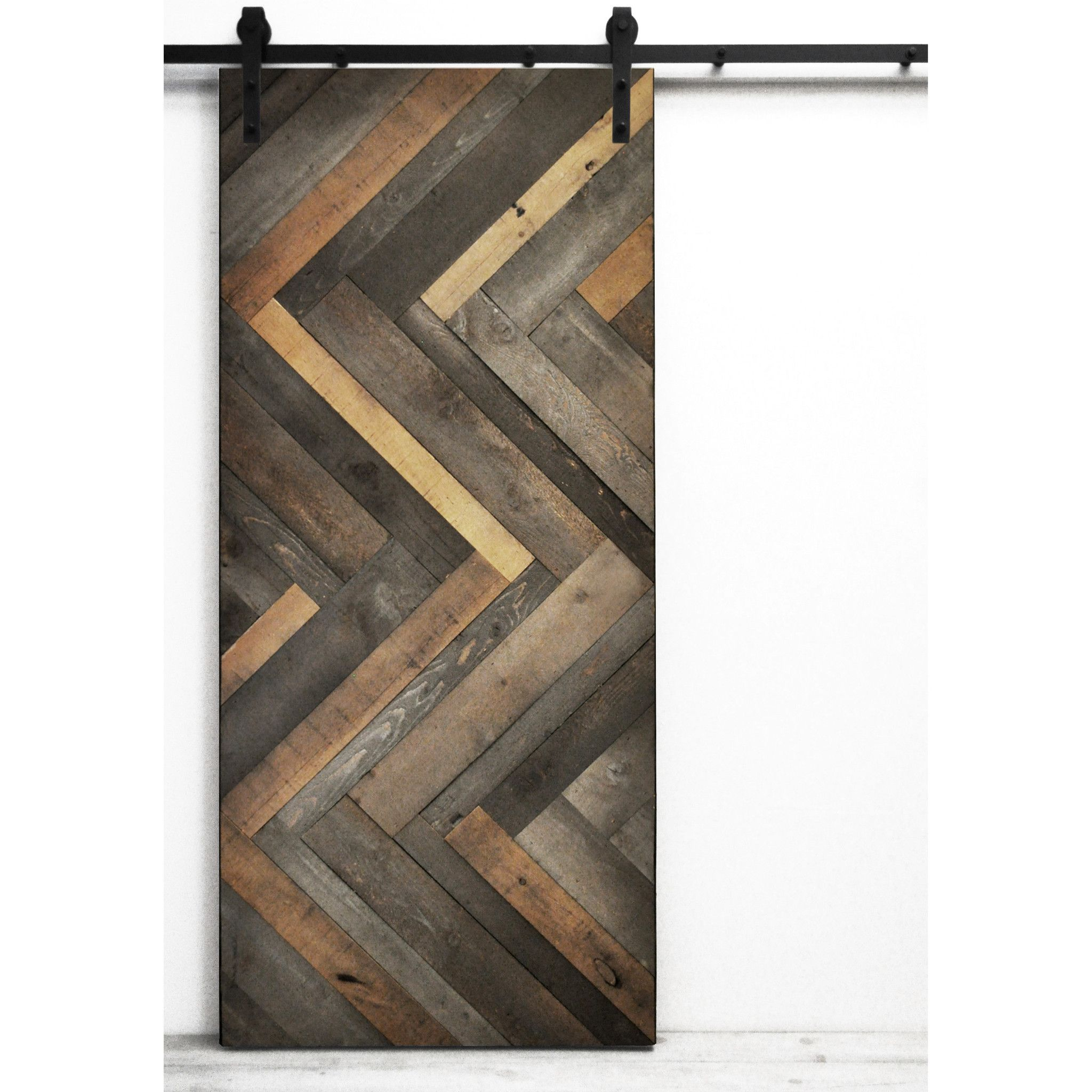 Found it at wayfair herringbone wood 1 panel lacquer stained barn door excluding hardware