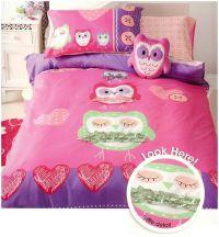 Little Owls Bedding Quilt Cover Set Single Girls Kids Pink ...