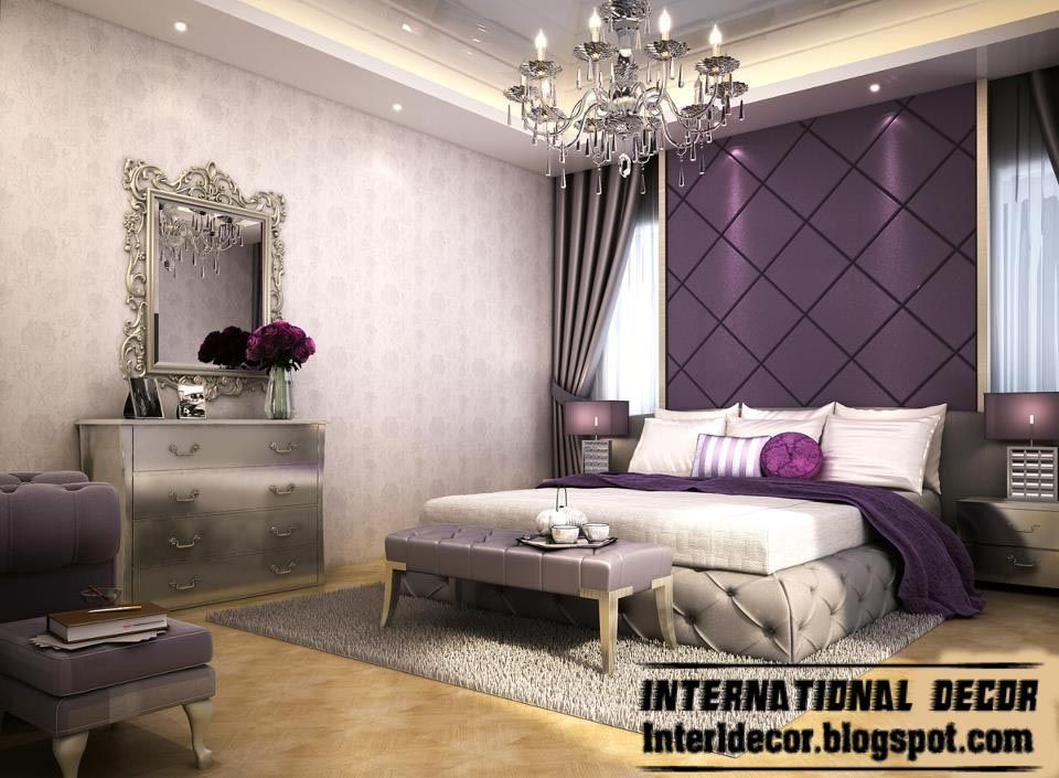Contemporary Bedroom Design And Purple Wall Decoration Ideas - designer bedrooms