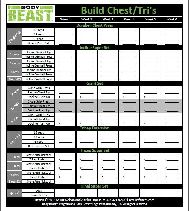 Body Beast Review for Women week #4 Body beast, Beast and - beast workout sheet