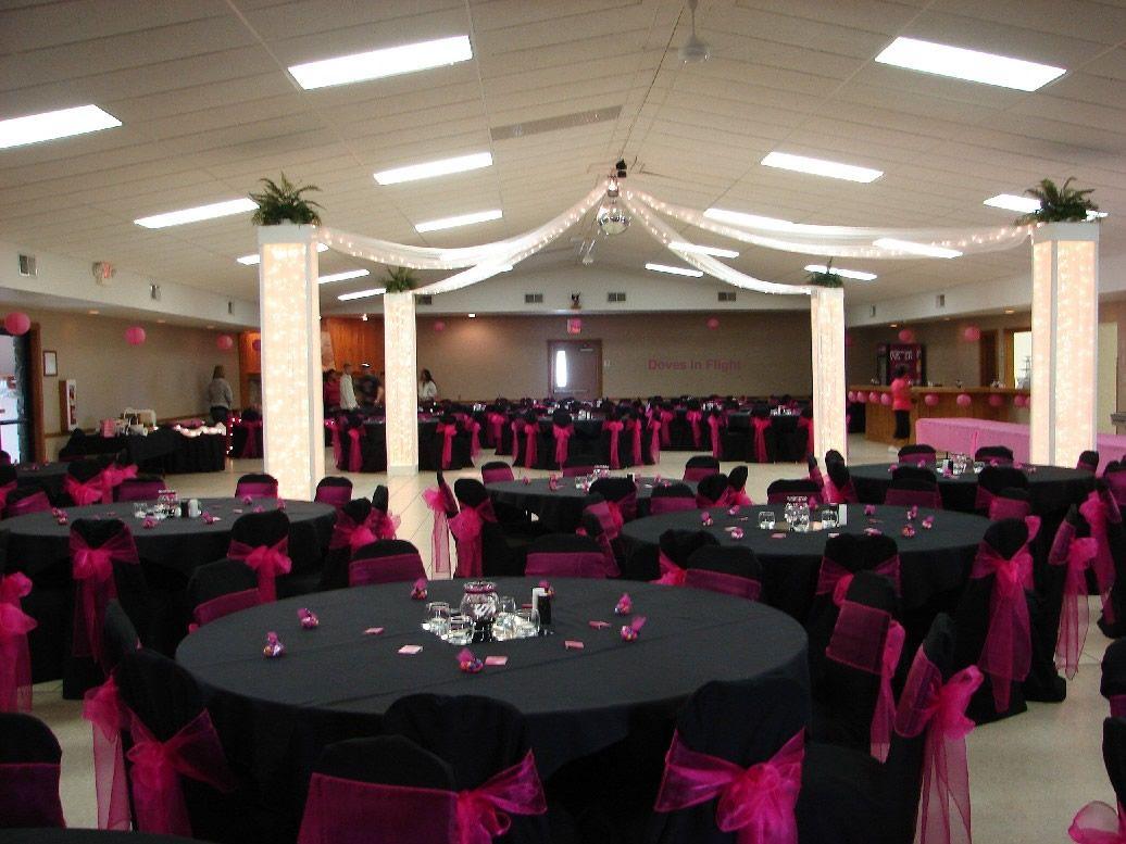 wedding decoration ideas Wedding Themes Wedding Style Pink and Black Wedding Decoration