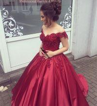 Elegant V Neck Lace Off Shoulder Ball Gowns Satin Dress ...