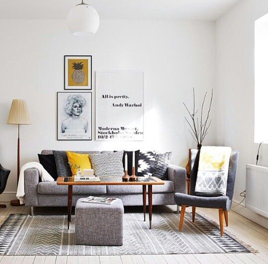 White, grey and yellow Home Decor Pinterest Gray, Living - yellow and grey living room