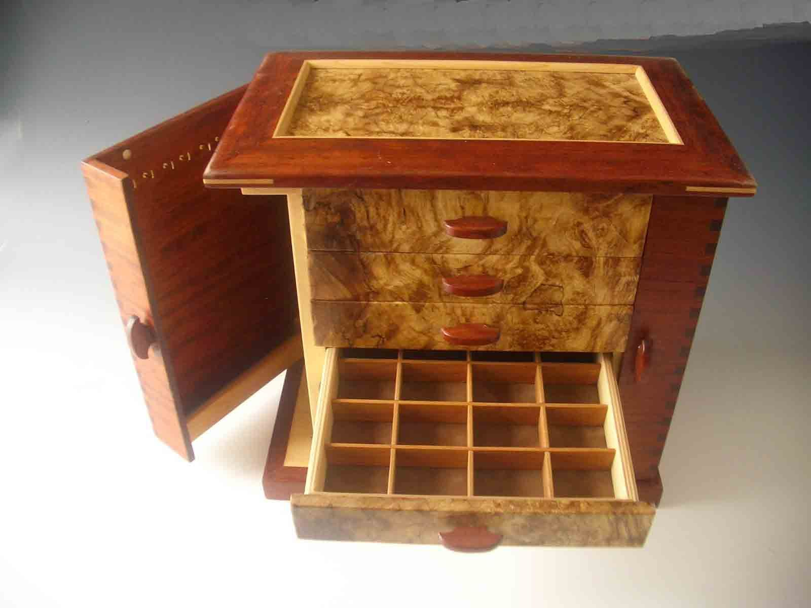 Handcrafted necklace holders jewelry box made of exotic wood with two doors that swing open to