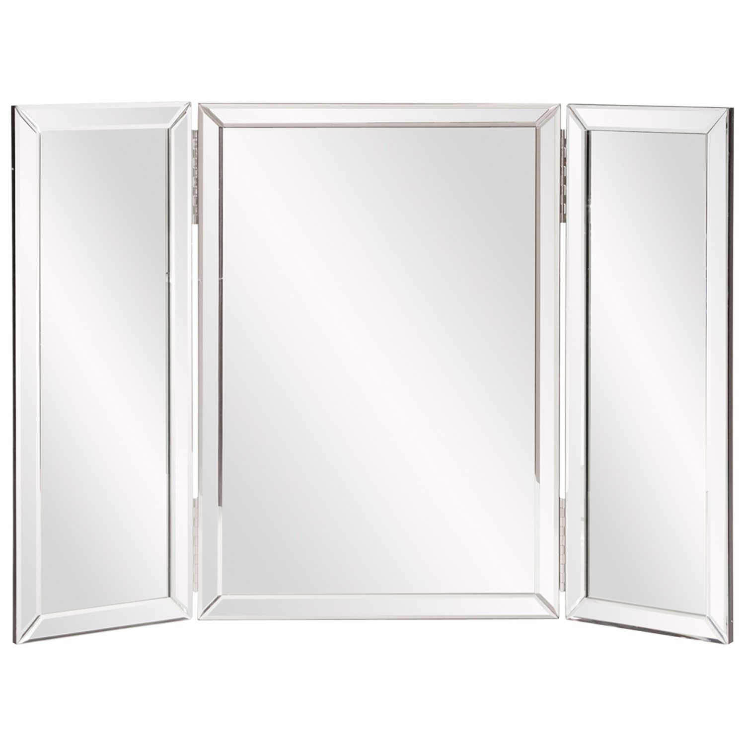 Mirrored Glass Vanity Tripoli Trifold Glass Tabletop Vanity Mirror Howard