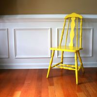 Rustic Yellow Wood Chair. Vintage Spring Country Home ...