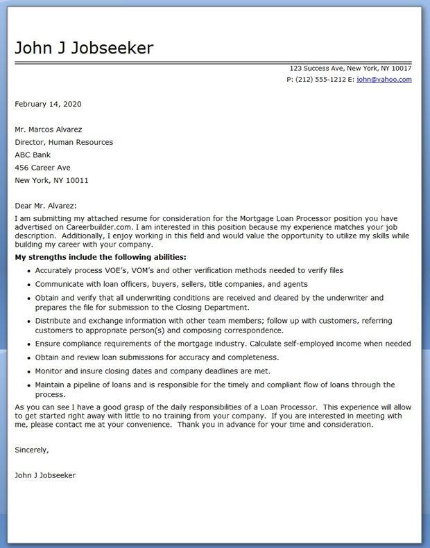 Sample Cover Letter Mortgage Loan Processor Creative Resume - mortgage loan processor resume