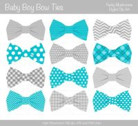 Digital clipart Bow Ties baby boy grey blue by ...