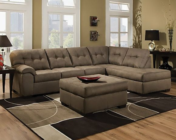 Tan Microfiber Couch Shiitake Mushroom Two Piece Sectional Sofa - american freight living room sets