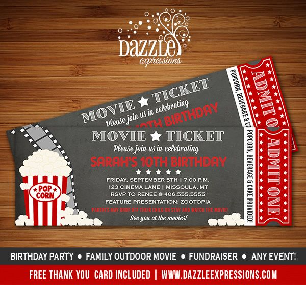 FREE Movie Night Party Printables by Printabelle Night parties - movie invitation template free